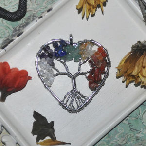 Silver Rainbow Heart Tree Of Life Pendant